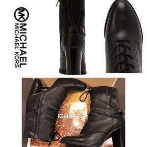 Michael Kors Black Carrigan Lace-up Bootie